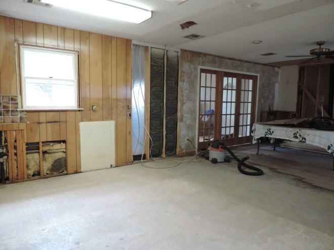 About half way into it, when we had no kitchen and the old fireplace hadn't been torn out yet