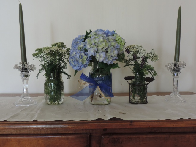 Hydrangeas, Lavender and Queen Anne's Lace from my garden